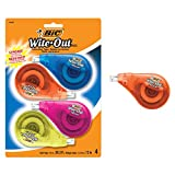 BIC Wite-Out Brand EZ Correct Correction Tape, 4-Count, Translucent Dispenser Shows How Mu...