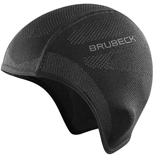 BRUBECK Helmmütze Fahrrad Damen | Schwarze Fahrradmütze unter Helm | Unterziehmütze Fahrradhelm | Radfahren Mütze | Skull Cap | Laufmütze atmungsaktiv | Joggen | Gr. S - M | Black | HM10020A