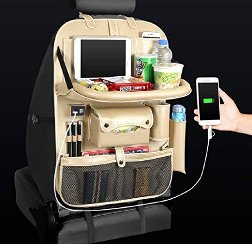 Auto-opslag, lederen materiaal is stevig en duurzaam, zitzak bespaart ruimte, auto met opladen USB-interface, auto reizen opslagvoorzieningen, goud
