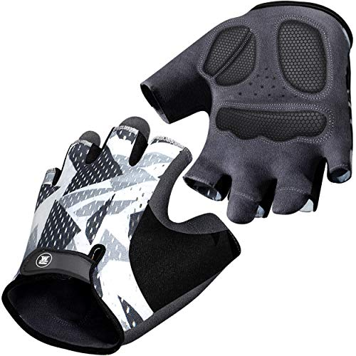 Mountain Bike Gloves for Men Women - Full-Palm Protection Cycling Gloves - Biking Gloves Fingerless Bicycle Gloves Men - Long-Wearing - Non-Slip Cycle Gloves Men - Half Finger Bicycling Gloves