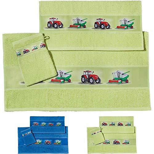 Erwin Müller Kinder Handtuch-Set, Frottier-Set 3-TLG. Traktor grün Größe 70x110 cm + 50x70 cm + 15x21 cm - 1 Handtuch, 1 Badetuch, 1 Waschhandschuh - kuschelig weich, saugstark