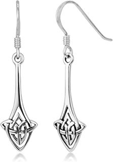 925 Sterling Silver Long Drop Trinity Celtic Knot Symbol Irish Jewelry Dangle Earrings 1.45 inches