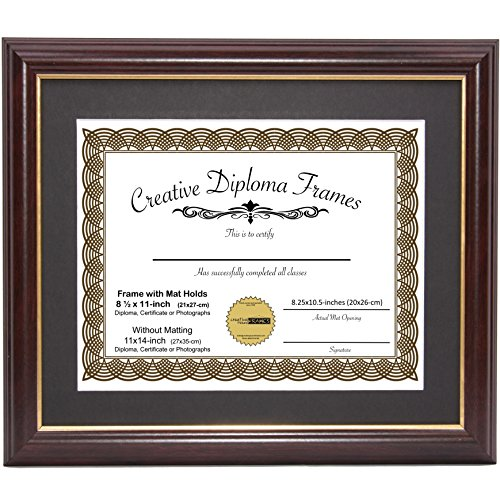 """Creative Picture Frames 11"""" x 14"""" Diploma Mahogany Frame with Gold Rim with Black Matting to Hold 8.5 by 11-inch Graduation Certificate with Easel and Installed Hangers"""