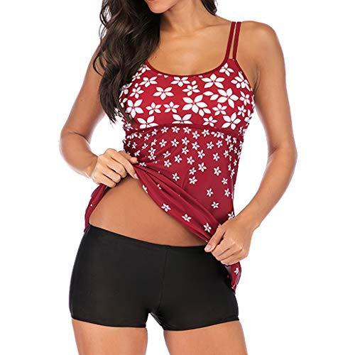 TOPUNDER Women Tankini Sets with Shorts Ladies Bikini Set Swimwear Push-Up Padded Bra Red