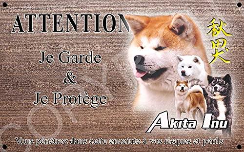 Pets-Easy.com Panneau Attention au Chien personnalisée Akita inu - pré percée et vis livrées. De 30 cm à 15 cm…