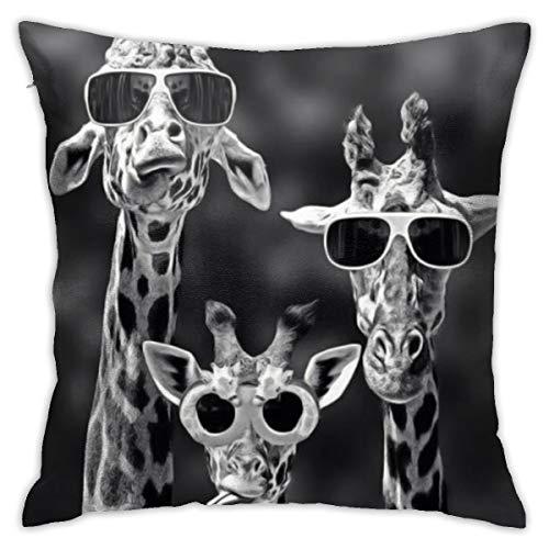 Yaateeh Three Funny Giraffe Sunglass Cute Animal Black Throw Pillow Covers Decorative 18x18 Inch Pillowcase Square Cushion Cases for Home Sofa Bedroom Livingroom