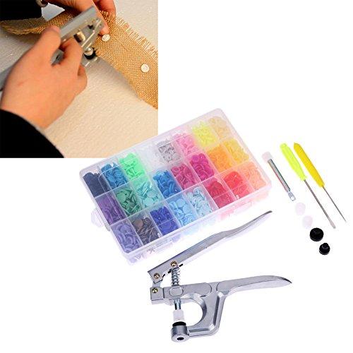 Xligo 1 juego de alicates de metal para herramientas de prensado de herramientas usados para T3 T5 T8 Kam con cierre de botón + juego de 360 alicates de resina de presión para pañales de ropa