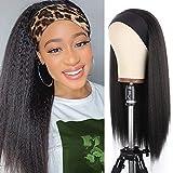 PWEOUKE Yaki Straight Headband Synthetic Wig Glueless Kinky Headband Wigs Natural Black Long 22 Inch None Lace Front Headband Straight Wigs for Black Women Daily Party, 1B