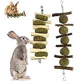 HshDUti 2 Stück Kaninchen Kauen Spielzeug Kleintierspielzeug Set, Natürliche Apfelholz Kauen Stöcke, Natürliche süßem Bambus, Timothy Graskuchen Set, Zahnpflege für Kauen Eichhörnchen Meerschweinchen