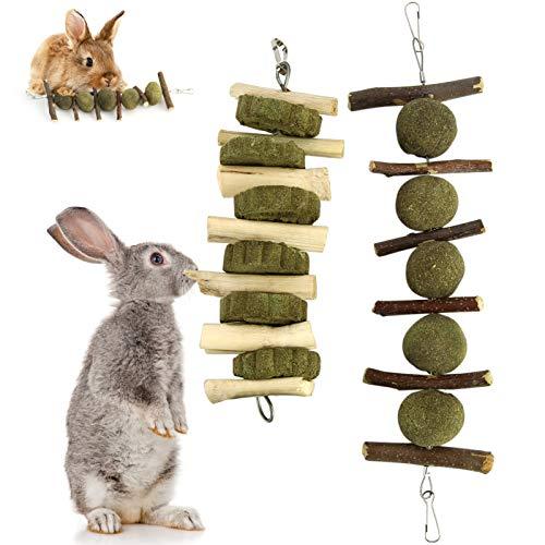 Washranp Juego de 2 bolas para masticar conejo, juguetes para jugar cuidado de los dientes, palillos de manzana natural molar para conejos, chinchillas, cobayas, hámsters para mejorar la salud dental