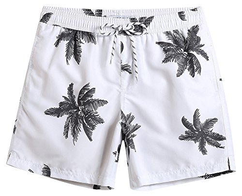 MaaMgic Mens Quick Dry Palm Tree Swim Trunks With Mesh Lining Swimwear Bathing Suits, White, Medium(Waist-30