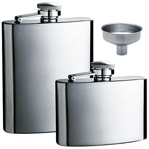 Flachmann 5 Unzen und 8 Unzen mit einem handlichen Trichter, max. 2 Packungen Edelstahl Leak Proof Schnaps Flachmänner mit Trichter für die Lagerung von Whisky/Alkohol.