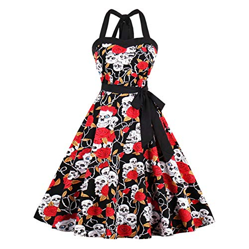 Lover-Beauty Vestido Mujer Halloween Hepburn Sexy Fiesta Manga Corta y Manga Larga Calabazas Calavera 50s Vintage Rockabilly Dress Retro Cocktail S-5XL