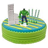 Dekora - Decoracion para Tartas con la Figura del Increible Hulk de PVC junto con 10 Velas de Cumpleaños y la Figura de un Rascacielos