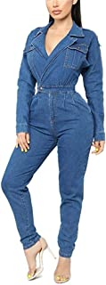 Womens Sexy Deep V Neck Long Sleeves High Waist One Piece Jean Pant Demin Jumpsuits Romper Overall Playsuit