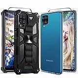 NUDGE Fundas para Samsung Galaxy A12, [4 Piezas] 2 Carcasa Protectora+2 Piezas Cristal Templado, Case Protectora de Silicona PC de Armadura Negra con Soporte, Case Silicona Transparente