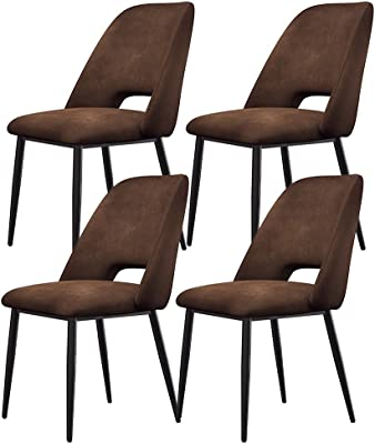 Set of 4 Ergonomic Velvet Metal Leg Dining Chairs Office Chairs Suitable for Bedroom, Living Room, Office, Meeting Room (Color : F)