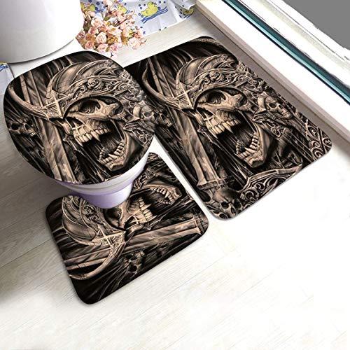 Hey Guy Badteppich, Vampire Skulls 3-teiliges Set, rutschhemmende Badematte + Kontur + Toilettendeckel