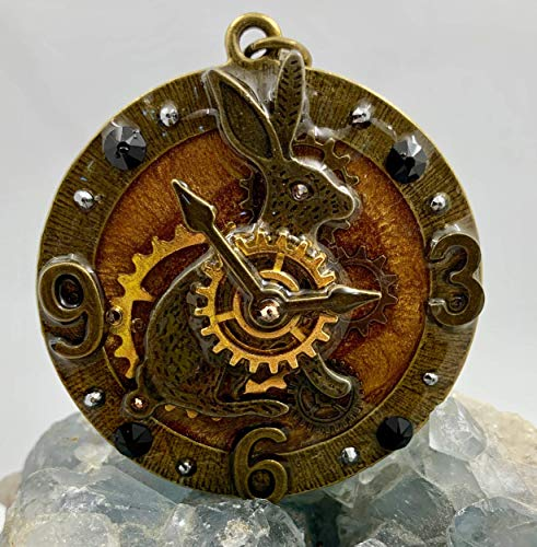 Bunny Rabbit Steam Punk Clock Watch Gears Numbers Hands Gold Antique Bronze Swarovski Crystal Resin Large Pendant
