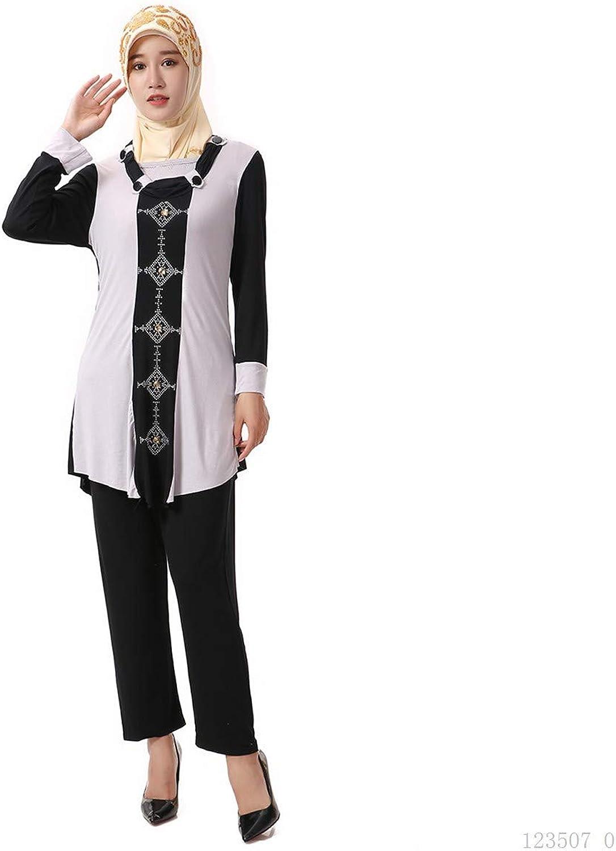 BaronHong Women's Muslim Islamic Rhinestone Modal Robe Abaya with Pants