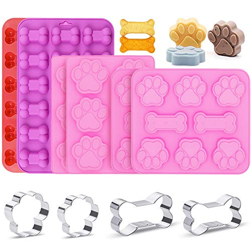 Chostky 10 Stück Silikonformen mit Hundepfoten- und Knochenmotiv, Silikonformen für Süßigkeiten, Kuchendekoration, Schokolade, Gelee, Zucker, Eiswürfel, Seife, Muffin, Kekse, Hundeleckerli