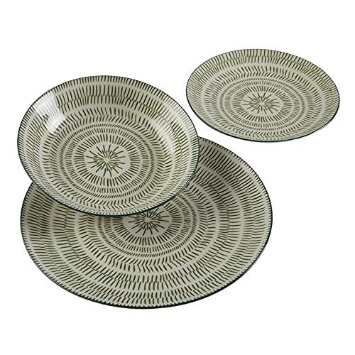 Versa, vajilla 18 piezas spin verde, linea servicio de mesa, vajillas