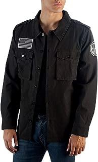 Marvel Utility Punisher Jacket Men's Vigilante Skull Logo Button Up Jacket