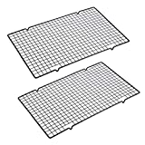 """OwnMy Set of 2 Baking Cooling Rack, 10"""" x 16"""" Non-Stick Heavy Duty Wire Oven Safe Cooling Rack..."""