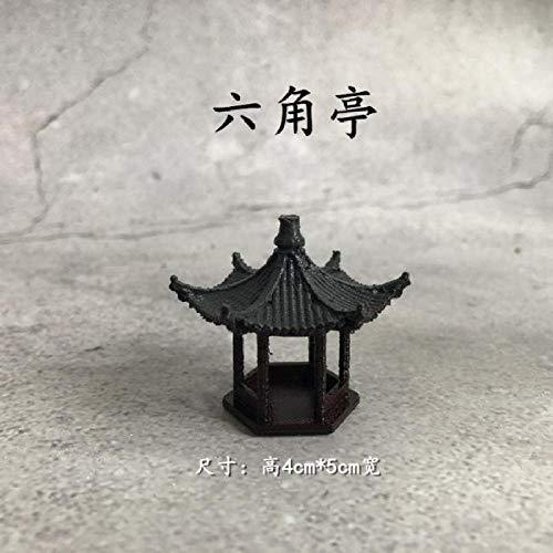 Bedom wallpaper Chinesische Art Mikro Landschaft Garten Pavillon Ornamente Japanische trockene Landschaft Dekoration Ornamente Bonsai Ornamente achteckigen antiken Pavillon alt-Sechseck-Pavillon