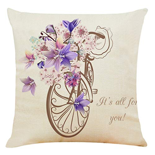 Mmoxi Home Decor Cushion Cover Printed with Flower Companion Bicycle Pillowcase Throw Pillow Covers Bedroom, Indoor or Outdoor Cushion Cover 45 x 49cm