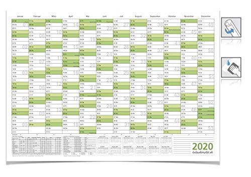 XXL Jahresplaner/Kalender - 2020 - DIN B0 grün 138,0 X 99,0 CM 250g/m2 feucht ABWISCHBAR