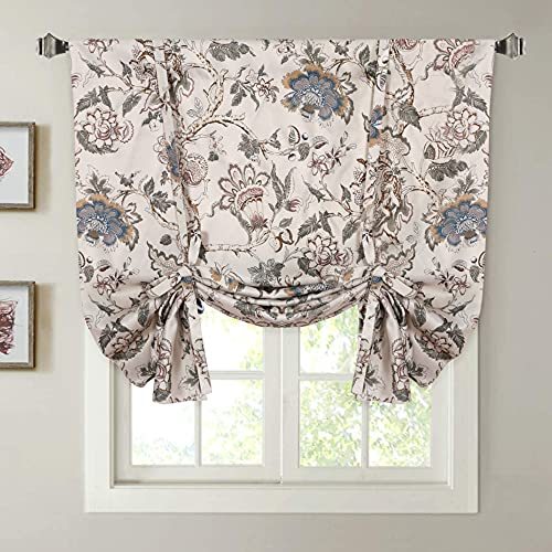 """H.VERSAILTEX Thermal Insulated Blackout Curtain Adjustable Tie Up Shade Rod Pocket Panel for Small Window-42 Wide by 63"""" Long-Vintage Floral Pattern in Sage and Brown"""