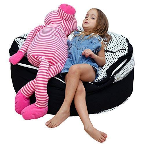 2 Sizes in 1 Large Bean bag Stuffed Animal Storage | XL Jumbo Ottoman for Soft Toys, Plush Toys | Giant Pouf Organizer for Linens, Quilts, Pillows | 300 L. / 80 Gal. | 42
