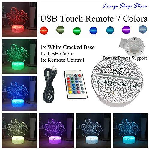 GYWLE Lampe de chevet LED série Mario Yoshi Luigi Mario Donkey Kong Bowser RGB 7colorful USB MINI lampe de table enfants cadeau d'anniversaire-W-USB_Remote_7_color