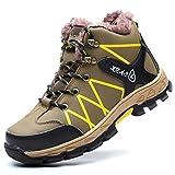 LXHK Zapatos de Seguridad Hombres S3, Botas de Nieve Forro de Vellón Cálido de Invierno Aire Libre Impermeables Zapatillas de Trabajo con Puntera de Acero,Verde,39EU