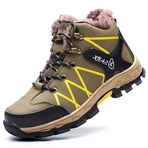 LXHK Zapatos de Seguridad Hombres S3, Botas de Nieve Forro de Vellón Cálido de Invierno Aire Libre Impermeables Zapatillas de Trabajo con Puntera de Acero,Verde,37EU