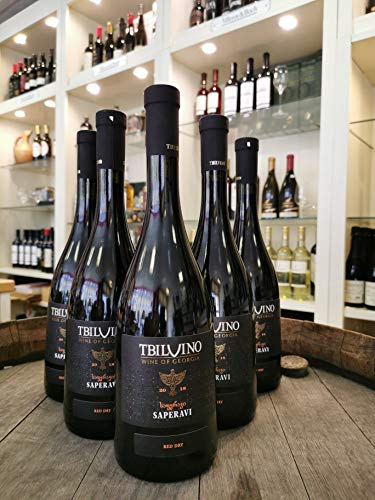 Tbilvino Saperavi Georgien trockener Rotwein 0,75 Liter 6er-Set 2018