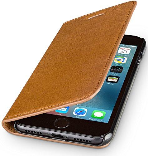 WIIUKA Echt Ledertasche - TRAVEL Nature - für Apple iPhone SE (2020), iPhone 8 und iPhone 7 - DEUTSCHES Leder - Cognac/Braun, mit Kartenfach, extra Dünn, Tasche, Leder Hülle