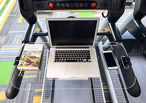 STYLEZONE Treadmill Laptop Computer Desk Setup Acrylic Laptop Computer iPad MacBook Book Holder and Stand on Treadmill Workstation with Protective Stop Block Rectangular