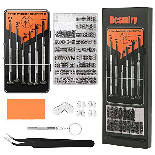 Eyeglass Repair Kit, redting Sunglasses Repair Kit with 1110pcs Eyeglass Screws Include 5Pairs Nose Pads, Precision Screwdriver Set and Tweezers for Eyeglasses,Watch Repair of various gadgets (Orange)