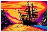 Sunset Bay Ship Blacklight Poster