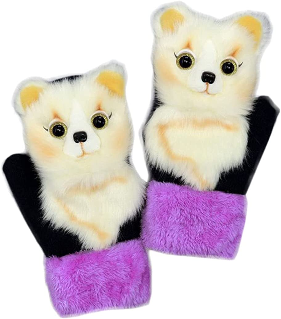 Winter Mittens For Women Cute Animal Mitten Warm Fluffy Glove Cycling Running Work Cold Weather Christmas Gift