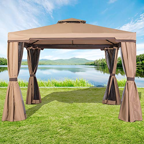 Incbruce Outdoor Fabric Steel Canopy Tent 10x10 Gazebo for Patios, Vented Polyester Fabric Gazebo with Mosquito Netting - Brown