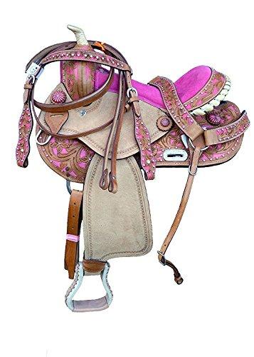 Deen, Enterprises Aparejos de cuero de primera calidad para caballos, cabeza de cuero a juego, cuello de pecho, riendas, tamaño 35,5 cm a 45,7 cm asiento disponible (asiento de 41,9 cm)