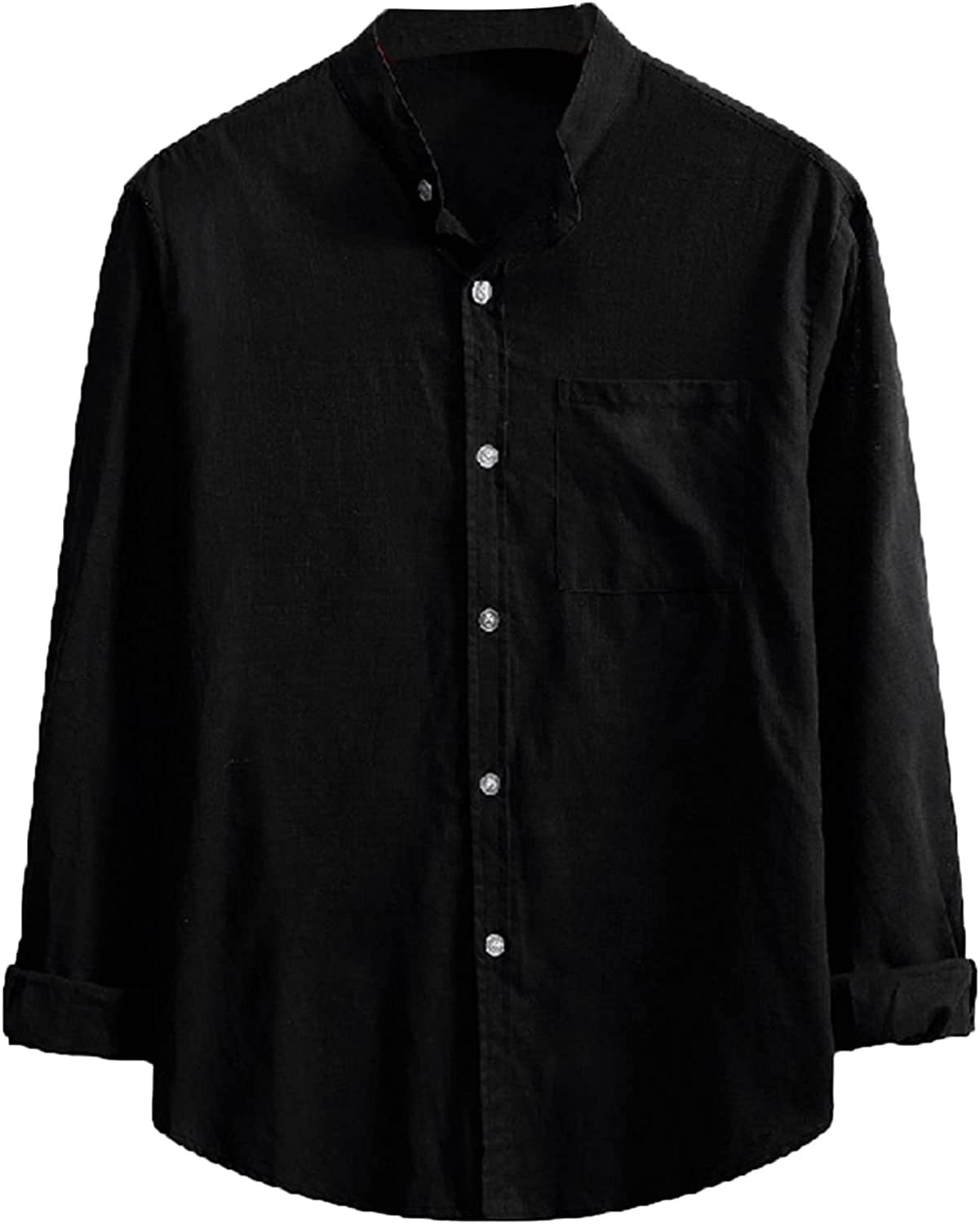 FUNEY Men's Long-Sleeve Casual Poplin Shirt Vertical Stripes Oxford Shirt Comfy Stretch Button Down Shirts with Pockets