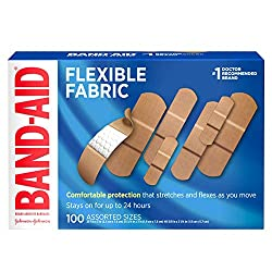 Band-Aid Brand Flexible Fabric Adhesive Bandages for Wound Care & First Aid, Assorted Sizes, 100 ct,