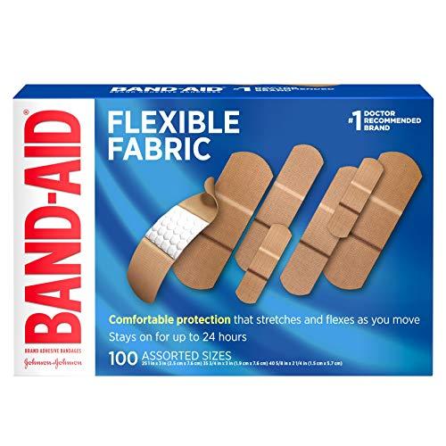 Band-Aid Brand Flexible Gewebebandagen für Wundpflege und Erste Hilfe, verschiedene Größen, 100 Stück