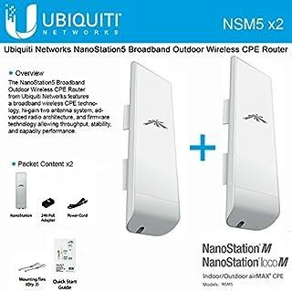 Ubiquiti NSM5 Bundle of 2 NanoStation M5 5GHz Outdoor airMAX CPE 150 Mbps 15 km