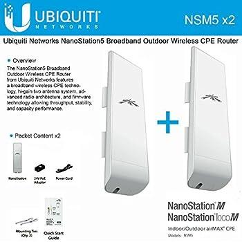 Ubiquiti NSM5 Bundle of 2 NanoStation M5 5GHz Outdoor airMAX CPE 150+Mbps 15+km