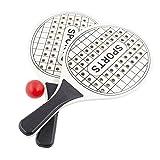 Juego de Palas de Playa, Raqueta de Madera para Exteriores, Juego de Pelota para Parque o jardín, Raquetas de Tenis de Playa (Blanco)